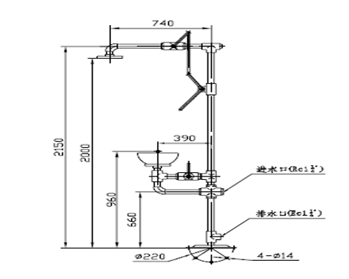XYQ-PⅠ型普通复合式喷淋洗眼器