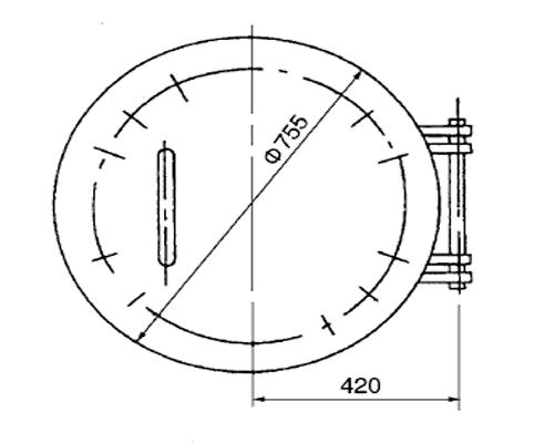 罐壁人孔标设L1/22-DN600 单重:162kg